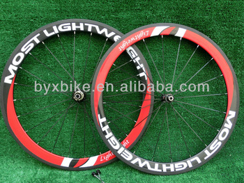 wholesale-MOST LIGHTWEIGHT  50mm carbon wheelset clincher/ tubular+novatec hub+spokes+skewer