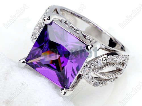 Women Square Base Amethyst Jewelry Silver Plated With CZ Fashion Zircon Ring(China (Mainland))
