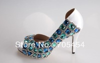 BS389 free shipping blue crystals peep toe bridal wedding shoes,party shoes