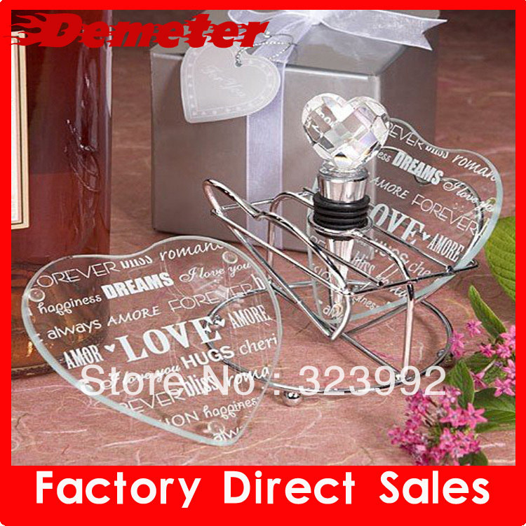 10pcs/Wholesale and retail Free Shipping 10pcs/lot crystal Wine Bottle Stopper heart cystal shape Christmas wedding Gift(China (Mainland))