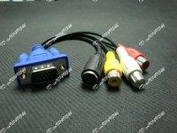100pcs of lot,VGA SVGA to S-VIDEO 3 RCA TV AV CONVERTER CABLE ADAPTER