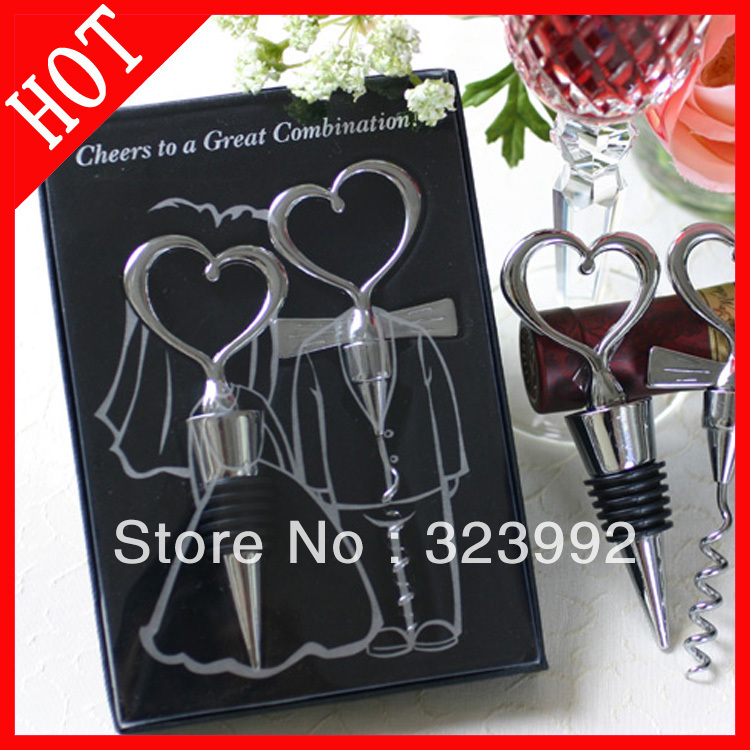 10pcs/Wholesale Free Shipping 2pcs stopper and screwer Wine Bottle Stopper Wedding Gift zinc alloy good quality low price(China (Mainland))