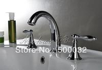 European style bathroom 3pcs faucet brass chrome doubl handle basin faucet mixer tap free shipping