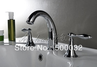 European style bathroom 3pcs faucet brass chrome doubl handle basin faucet mixer tap free shipping