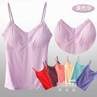 Belt bra pad solid color modal cotton sexy V-neck spaghetti strap vest lace decoration spaghetti strap top red