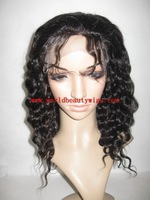 Cheap price 100% Human hair full lace wig indian remy hair. guleless full lace wig, color 1B, wavy hair
