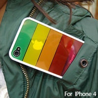 Freeshipping Rainbow design silicone case coveer For iphone4 4s, Japanese korean style high quality case,1pcs per lot