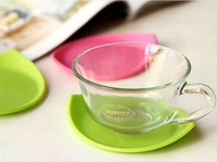 Free shipping Silicone Fresh Leaf Coaster Beautiful Cup Mat