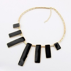 Min.order is $10(mix) 022 epoxy geometric square statement necklace fashion choker necklace wholesale jewelry(China (Mainland))