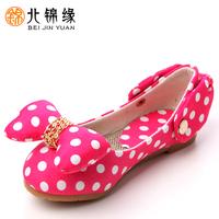 2013 children kid's litt'e girl's shoes princess elegant child shoe satin fabric lovely bowtie mesh slip-on