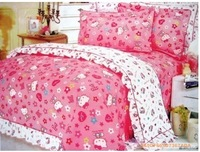 New Beautiful 4PC 100% Cotton Comforter Duvet Doona Cover Sets FULL / QUEEN / KING SIZE bedding set 4pcs cartoon pink kitty cat