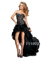Popular Custom Made Long Train Hi Low Organza Layers Ruffles Emrbroidery Beaded Designer Black And White Sexy Prom Dresses 2013
