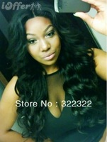 "Soft Indian Remy hair  , 22"" ,#1B , Body Wave ,Middle Part Lace front wigs"