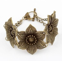 Min. order is $10(mix)  505 vintage flower  bracelet new fashion bracelet wholesale jewelry 2013