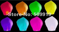 10pcs flying paper sky lantern manufacturer selling Pure color flying paper sky lantern (8 colour for choose) freeshipping(China (Mainland))