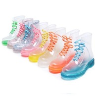 Clear Rain Boots/ Colorful Flat Heel Rainboots Women/ Martin Waterproof  Boots For Girls/ Water Shoes/ Neon Sole Shoes