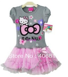Free Shipping 2013 Newest Design Branded Baby Girl Hello Kitty cute dress kids Birthday tutu dresses Pink High Quality(China (Mainland))