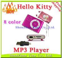 Retail cheapest Mini Hello Kitty Clip MP3 Player support 1G-8G TF Card 8 color Best festival gift for children Free shipping