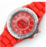 Free shipping Fruity-Color  Crystal Silicone  Wristwatches  Men Lady Jelly Watch  Hot sale wholesale