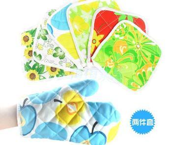 Cotton Cloth Heat insulation gloves with Insulation mat 2pcs/set (DM)