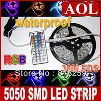 Cheap 5m/lot Free shipping 5050 SMD RGB 300 LED Strip Light Lamp Waterproof with Free 44key IR Remote