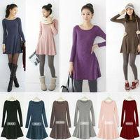 2014 NEW women casual cotton plus size spring autumn/fall black pink brown grey blue purple bordeaux long sleeve one piece dress