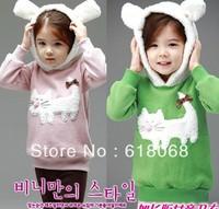 Hot Sale 2013 Spring suit children's wear print cat loop of children long sleeve with hat sweatshirts