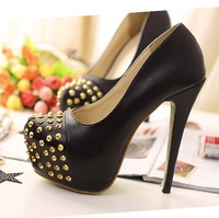 Sexy NEW Black Women's Shoes Ladies Rivet 14cm Super High Heeled Platform Pumps Free Shipping