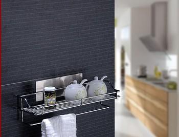 Free shipping adhesive shower caddy magic bath shelf kitchen storage holder rack bathroom kitchen supplies bathroom fitting