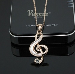 NEW ARRIVALViennois Natural Shell Musical Note Necklace 18K Gold Plated Statement Jewelry Free Shipping(China (Mainland))