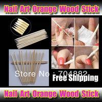 Free Shipping! 2013 Hot Nail Art Orange Wood Stick Manicure Tool Cuticle Pusher Remover 1 pack (100pcs)