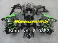 TOP Green flames black Fairing kit for KAWASAKI Ninja ZX250R 08-12 ZX-250R 2008-2012 ZX 250R EX250 08 09 10 11 12 2008 2012