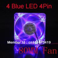 Transparent Blue LED Light 12V 4PIN 8CM 80MM PC Case / CPU Heatsink Cool Fan New