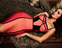 Вечернее платье 2013 Better quality Lastest 'Aysha' black strip leatherette strapless HL Bandage Dress party Evening Dresses dropshipping