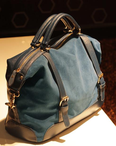 Sac en cuir nubuck bleu cobalt simili. chamois, sac des femmes
