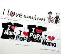 Free shipping Baby clothesT-shirt, i love papa mama baby shirt/T-Shirt boy & girl Short-Sleeve Shirt,Infants & Toddlers T shirt