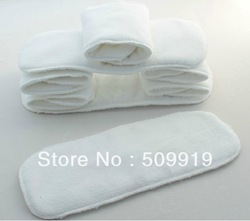 Free shipping+50 inserts Alva Baby Washable reuseable Cloth Nappy Diaper Insert Microfiber terry cloth 3 layer(China (Mainland))