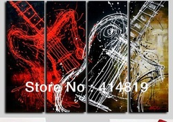 Free shipping Art Abstract Paintings Musical Instruments Abstract Canvas Art Oil Painting Wall Decor 4 Panel Canvas Art M161(China (Mainland))