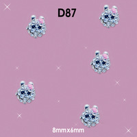 Silver 3D Fashion Rhinestone Nail Art Alloy Diamond Animal Face  DIY Nail Art Glitter Decorations Size:8*6mm#D87