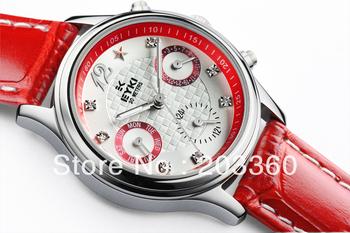 Lady 4 dial watch genuine 6 pointer effective original EYKI brand name kimio Leather band Freeshipping 8666