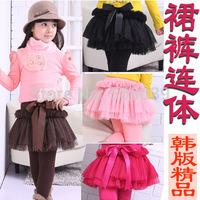child all-match basic skirt pants  Girls Winter  fluffy cake skirt culotte Princess seersucker dance skirt