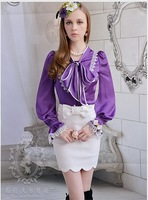 Bow white laciness long-sleeve shirt for women blouses purple size XL