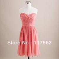 Real Sample Coral Color Strapless Chiffon Bridesmaid Dress BD009