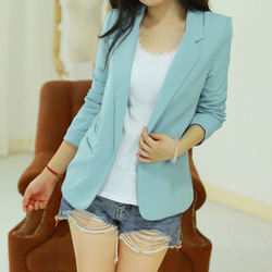 2012 Fashion all-match casual candy color long-sleeve women suit ,lady slim jacket +Free shipping(China (Mainland))