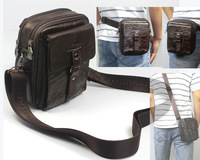 Free ship Wholesale & Retail Fashion 4USE Men Full Grain Real Leather Fanny Waist Pack Small Shoulder Bag Messenger Bag Leisure