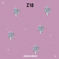Lovely Outlooking Rhinestones Clovers Diamond 3D Alloy Nail Art DIY Decoration Size: 6*4mm #Z18