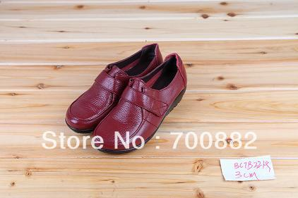 red genuine cow leather rubber sole casual women shoes(China (Mainland))