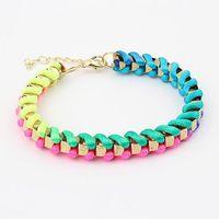 Free airmail shipping Fashion All-match Handmade Knit Multicolor Preparation Bracelet B198