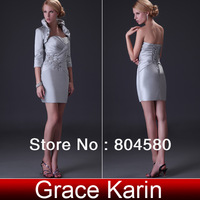 Special Offer!!! New Arrival Strapless Sheath Column Dress Short Satin Evening Dress+Grey Bolero CL3826