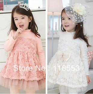 Free shipping-2013 girls fashion dress/kids dress/children clothing/2colors 5PCS/lot